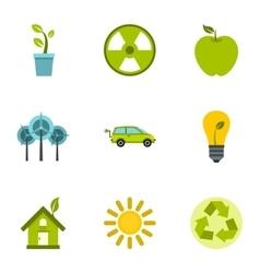 Natural environment icons set flat style vector