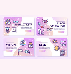 ophthalmology color linear icons set vector image