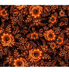 Orange floral seamless pattern on black background vector image