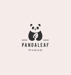 panda leaf logo retro vintage hipster icon vector image
