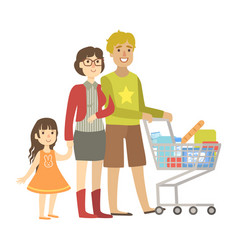 parents and little daughter shopping for groceries vector image