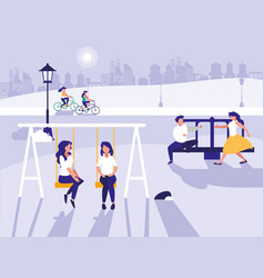 people in park with playground isolated icon vector image