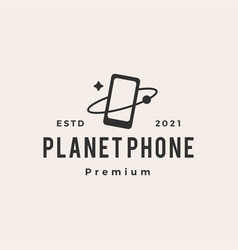 planet phone hipster vintage logo icon vector image