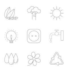 Production of energy icons set outline style vector