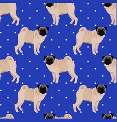 Pug seamless pattern vector