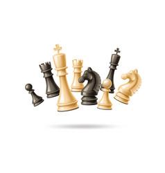 Realistic 3d chess pieces black white set vector