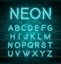 Realistic neon alphabet bright neon glowing font vector
