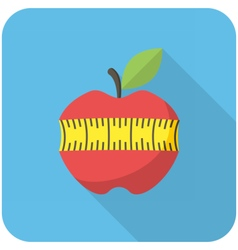 Red apple with measuring tape icon vector image vector image