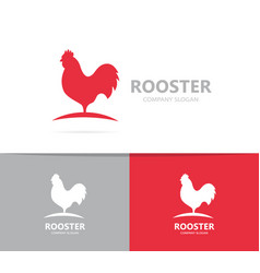 red rooster logo combination cock and vector image