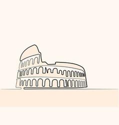 Rome coliseum continuous line icon vector