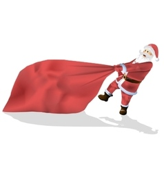 Santa Claus is a big bag of gifts isolated on vector image