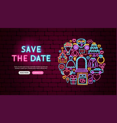 Save date neon banner design vector