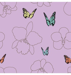 Seamless of Butterfly and Orchid vector image