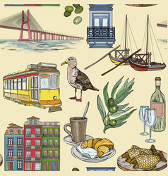 seamless pattern with portugal landmarks vector image