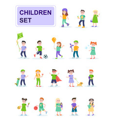 set children in different poses vector image