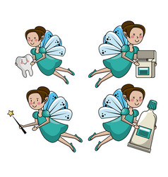Set of tooth fairy cartoons vector