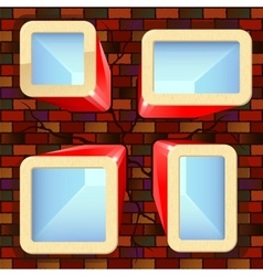 Shiny boxes with places for text on the brick wall vector