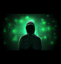 silhouette a hacker in a hood against a vector image