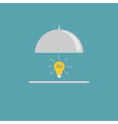 Silver platter cloche and yellow idea light bulb F vector
