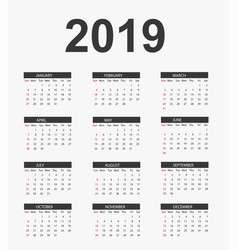simple calendar 2019 vector image