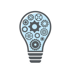 simple light bulb with gear wheels vector image
