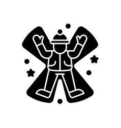 Snow angel black glyph icon vector
