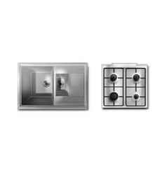 Stainless steel sink and gas stove mockup top view vector