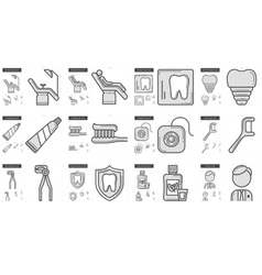 Stomatology line icon set vector