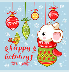 The little mouse is sitting in a christmas mitten vector