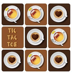 Tic-Tac-Toe of cappuccino and tea vector