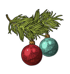 two toy balls on branch fir tree for merry vector image
