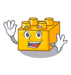 Waving plastic shaped toy on constructi character vector