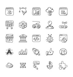 web design and development doodle icons vector image