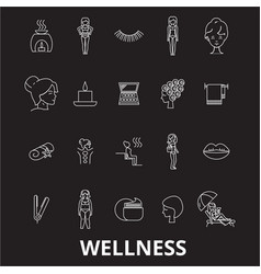 wellness editable line icons set on black vector image