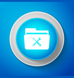 white folder and tools or settings icon isolated vector image