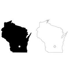 Wisconsin wi state map usa with capital city star vector