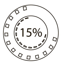 Fifteen percents infographics outline style vector