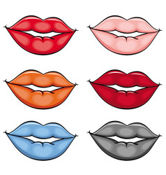 flat girl lips colored set vector image vector image