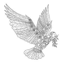 Flying dove in zentangle style vector image
