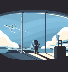 little boy in airport terminal vector image vector image