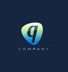 q letter logo oval shape modern design vector image