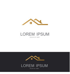 roof building gold logo vector image