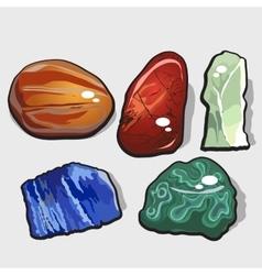 Set of five cartoon stones and minerals vector image vector image