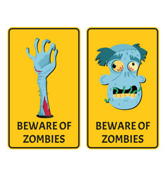 beware of zombies labels with monster body parts vector image