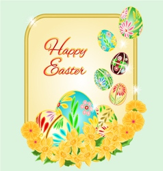 Easter frame Easter eggs and daffodils vector image vector image