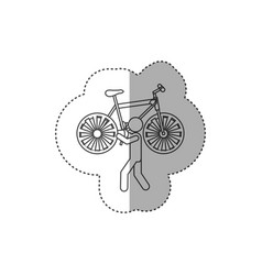 figure person with bicycle in his hands and vector image