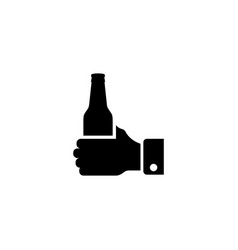 hand hold bottle beer flat icon vector image