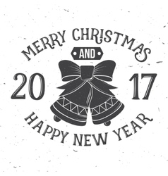 Merry Christmas and Happy New Year 2017 typography vector image