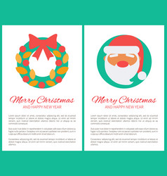 merry christmas santa and wreath vector image