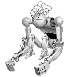 sitting robot vector image